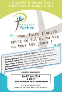 Lancement du parcours ZACHEE le 19 sept 2016