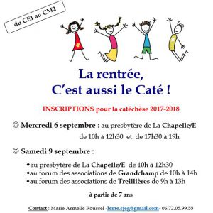 INSCRIPTIONS CATÉ 2017